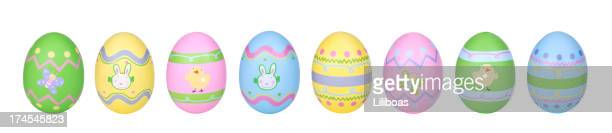 easter eggs in row - easter egg stock pictures, royalty-free photos & images