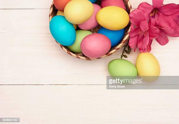 Easter eggs in the wicker basket. Debica, Poland