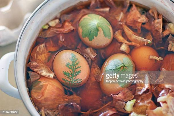 Easter Eggs Naturally Dyed in Onion Skins