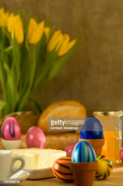 Easter eggs on a breakfast table