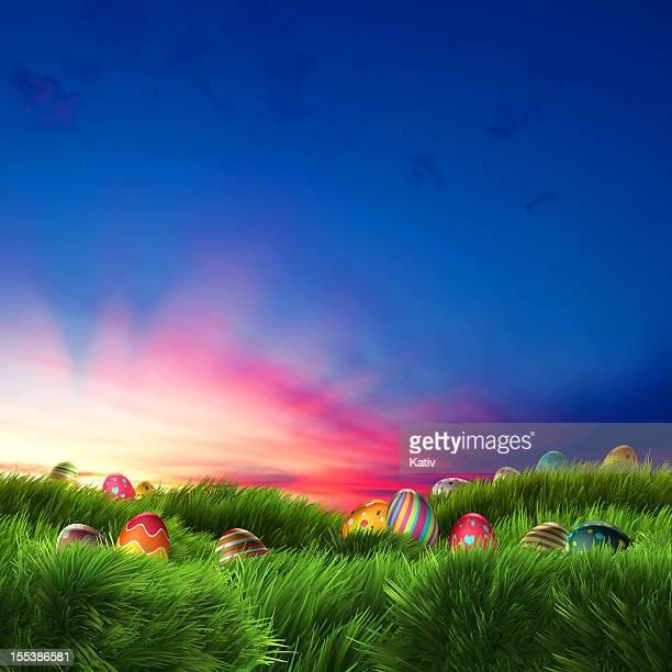 Ostern Eier auf den traumhaften Sonnenuntergang (XXXL