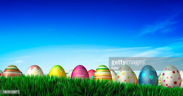 Easter Eggs on grass field