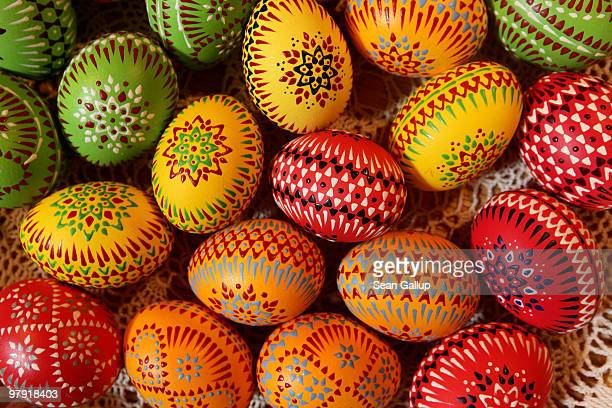 Easter eggs painted in traditional Sorbian motives lie on display and for sale at the annual Easter egg market on March 21 2010 in Schleife Germany...