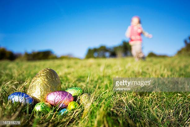 easter eggs - easter egg hunt stock photos and pictures