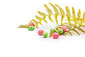 easter eggs pink green color gold
