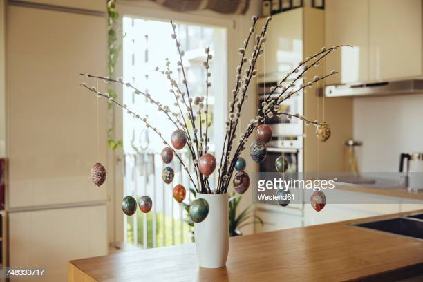 easter eggs prepared with origami paper - easter decoration ストックフォトと画像
