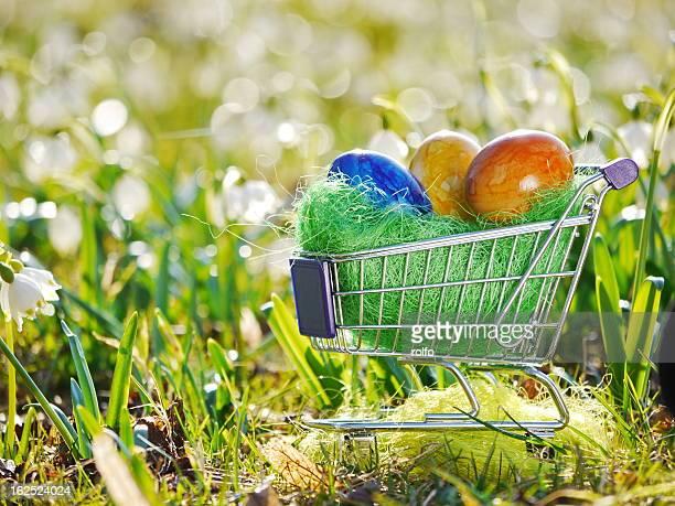 Easter eggs shopping cart