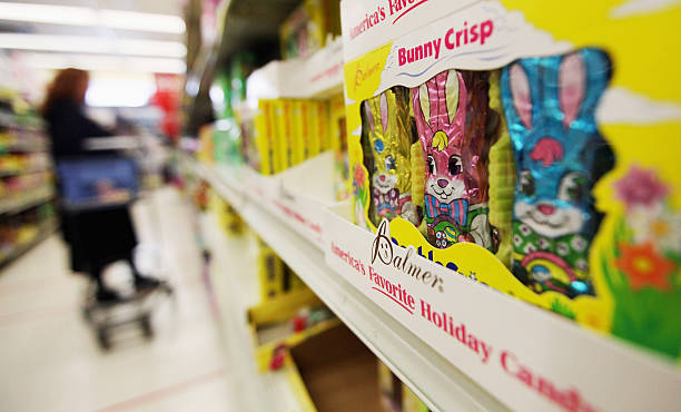 New survey finds americans to raise easter spending by 11 percent easter gifts are displayed in a manhattan store on april 2 2012 in new york negle Images
