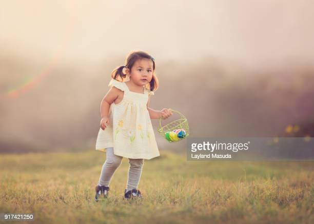 Easter Girl With Basket Of Eggs