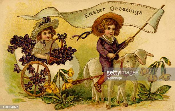Easter greeting card depicts a young boy who rides on of a pais of lambs that pull a young girl in a two-wheeled cart, early 20th century.