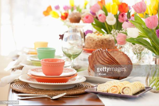 easter ham dining table - easter dinner stock pictures, royalty-free photos & images
