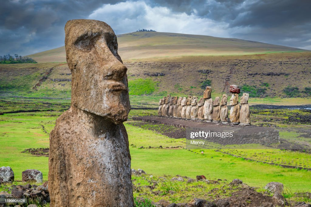 Easter Island Ahu Tongariki Travelling Moai Rapa Nui : Stock Photo