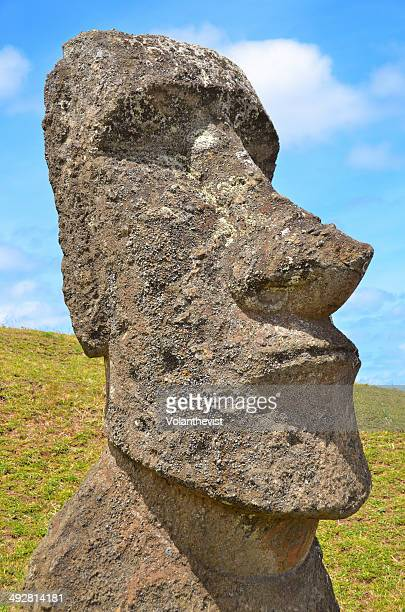 Easter Island big Moai (statue) face in sunny day