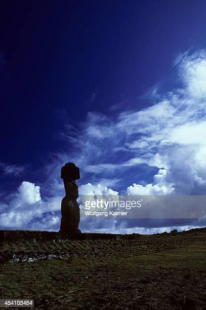 Easter Island Moai At Ahu Tahai With Dramatic Clouds