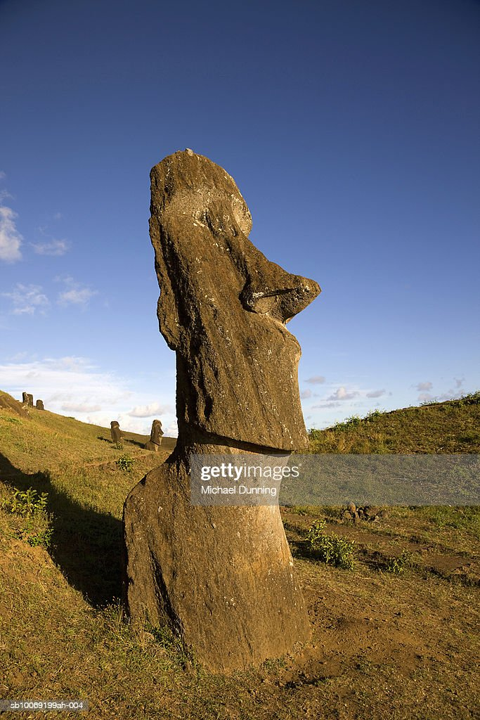 Easter Island, Rano Raraka, ancient Moai statues on hillside : Stockfoto