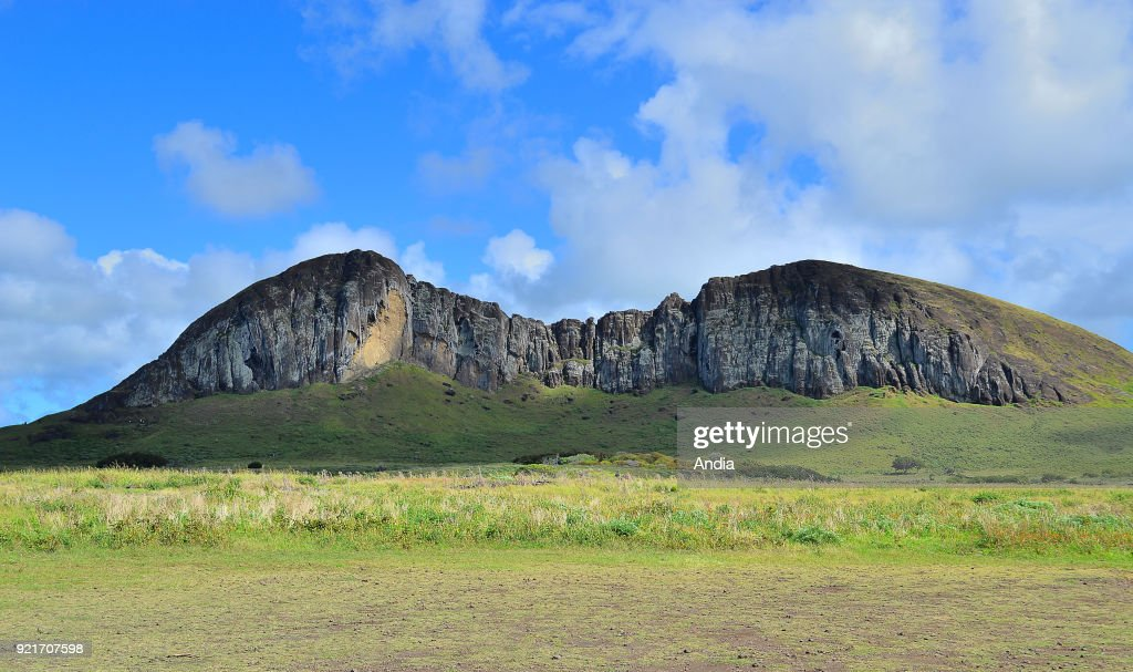 Rano Raraku quarry, where most of the Moai statues were carved, typical statues from Easter Island, monolithic human figures.