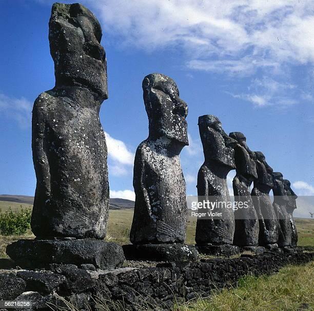 Easter Island Seven Moai of Ahu Akivi February 1972 RVB13073