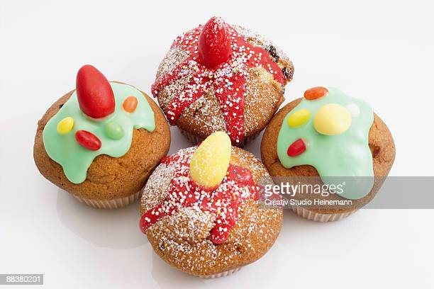 Easter muffins with sugar icing, elevated view, close-up