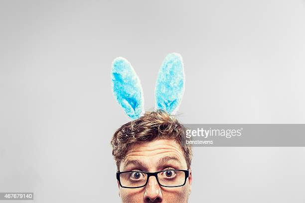easter nerd with ears on looking at camera - idiots stock pictures, royalty-free photos & images