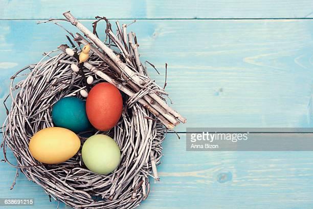 Easter nest with multi colored eggs. Debica, Poland