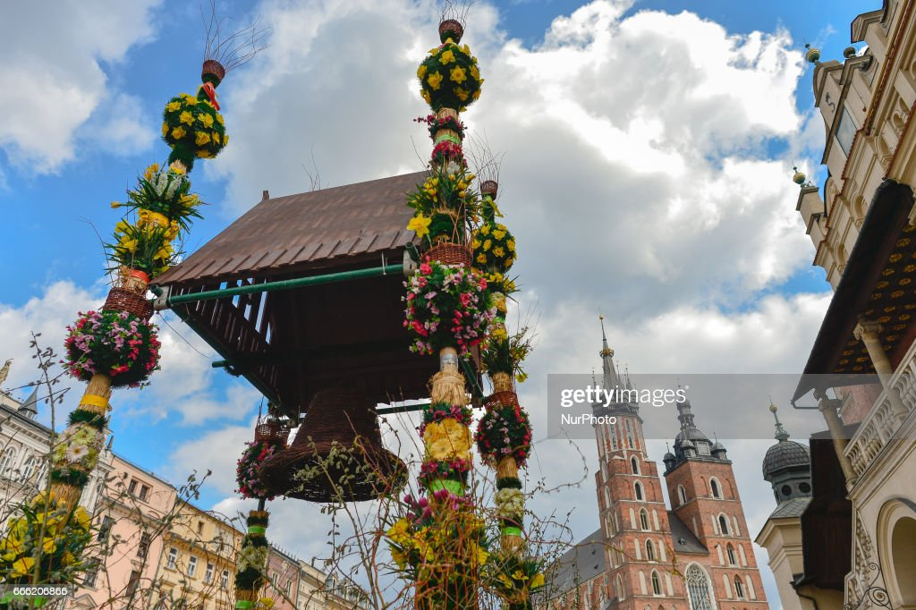 Easter palms on display at the entrance to Krakow's Easter Market. On Saturday, April 8, 2017, in Krakow, Poland.