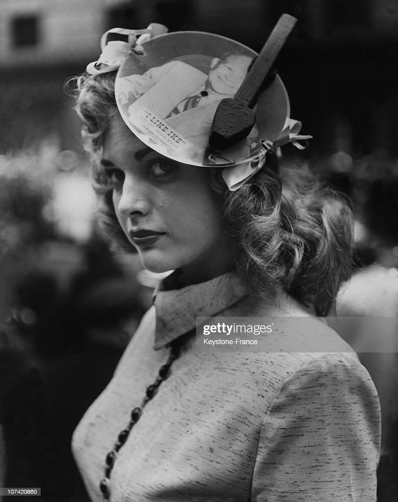 Easter Parade, Portrait Of A Young Woman Wearing A I Like Ike Hat At New York In Usa On 1952
