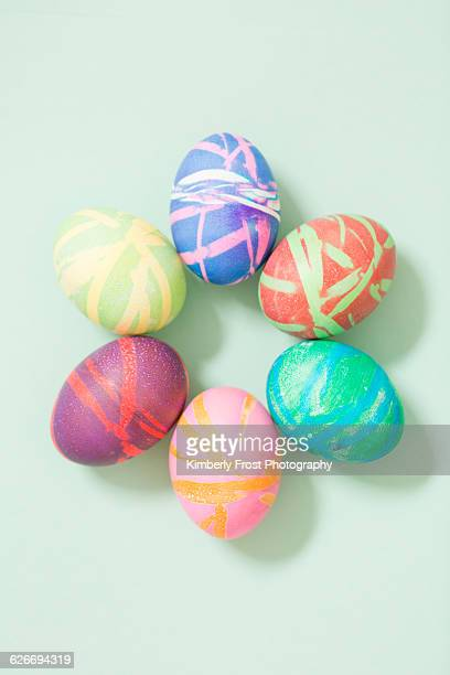 pov easter - hard boiled eggs stock photos and pictures