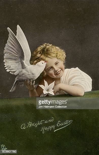 Easter postcard featuring photograph of smiling young girl holding dove and lily
