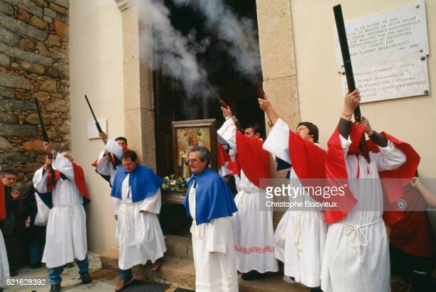 easter procession at greek orthodox church on corsica - greek orthodox easter stock pictures, royalty-free photos & images