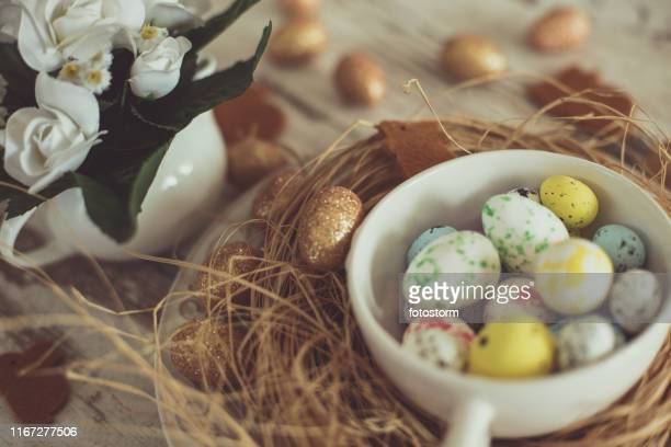 Easter quail eggs in a nest
