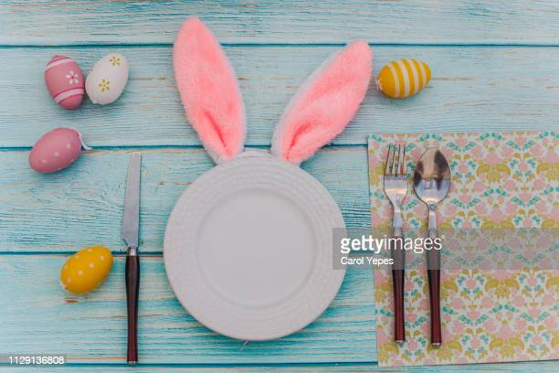 easter rabbit table setting for sping - easter stock pictures, royalty-free photos & images