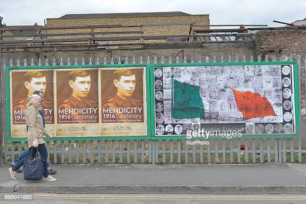 Easter Rebellion related posters on in Central Dublin are as the Irish capital prepares for the centenary of Easter Sunday commemorations. The 1916...