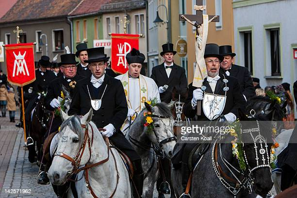 Easter riders sing as they parade on horseback on April 08 2012 in Wittichenau near Bautzen Germany Sorbians a Slavic minority in eastern Germany...