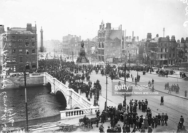 O'Connell bridge and street showing the aftermath of the 1916 Rising Published 1916