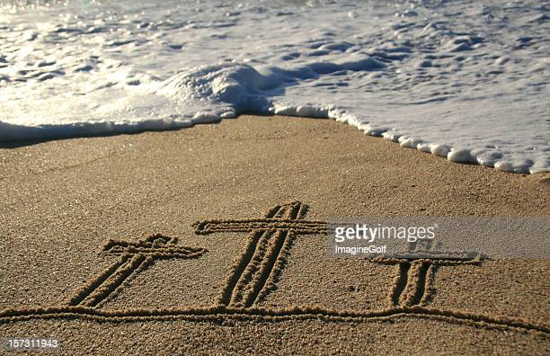 easter sand scene three crosses - easter cross stock pictures, royalty-free photos & images