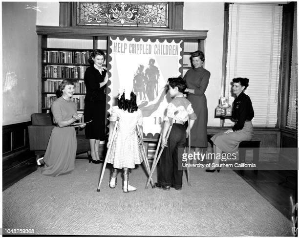 Easter Seal drive for crippled children 26 February 1952 Stanley Johnson Mrs Fred HadlandMrs William MoffittLeslie Butcher Mrs Jack E HerrickMrs...