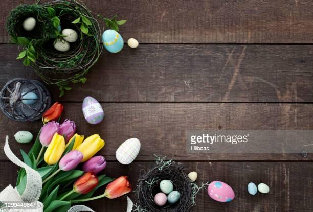ostern frühling tulpen rahmen rustikalen hintergrund - ostern stock-fotos und bilder