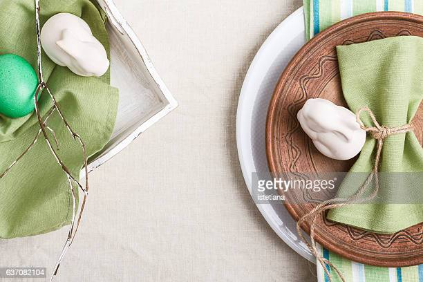 Easter table decoration with copy-space