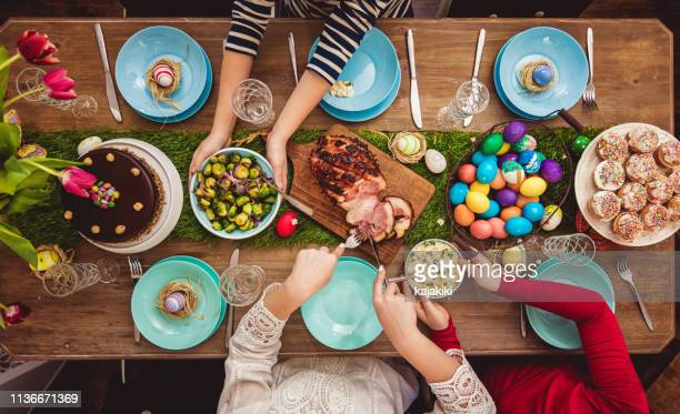 easter table - easter egg stock pictures, royalty-free photos & images