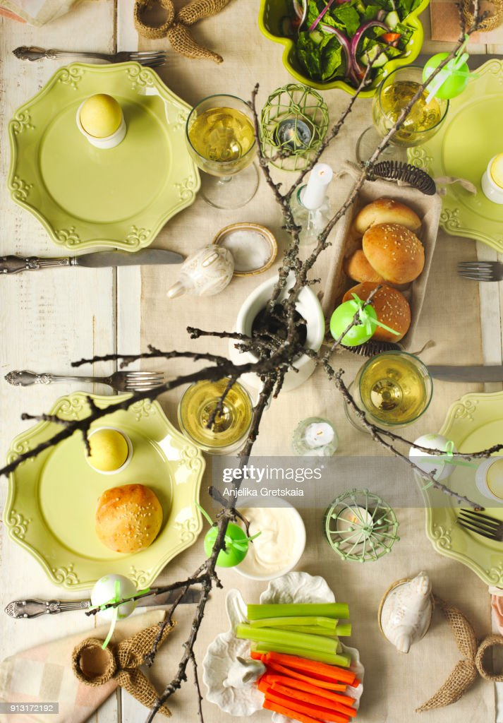 Easter table setting. Easter breakfast or dinner  Stock Photo  sc 1 st  Getty Images & Easter Table Setting Easter Breakfast Or Dinner Stock Photo ...