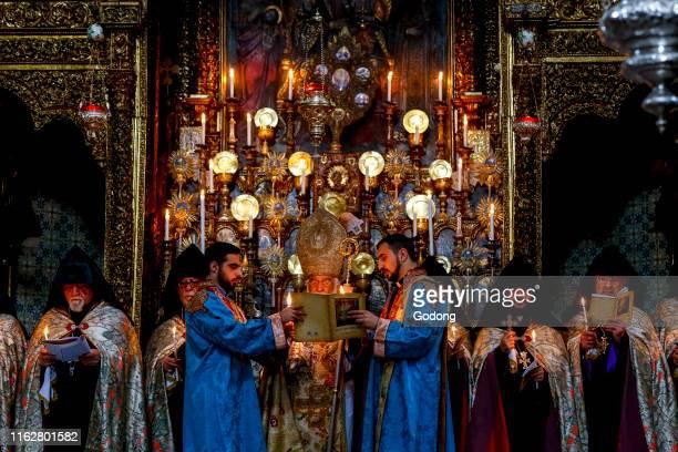 Easter thursday celebration at St James's Armenian orthodox cathedral Jerusalem Israel