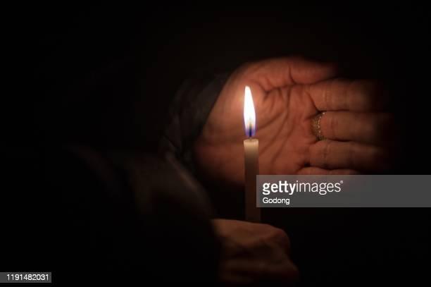 Easter vigil in a catholic church Paris France