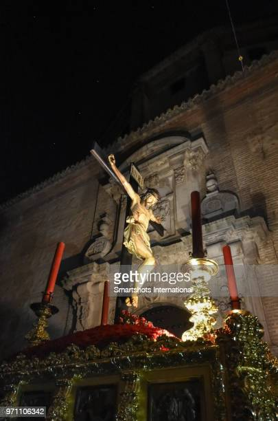 easter week (semana santa) crucifixion procession illuminated at night  in lucena, andalusia, spain - good friday stock pictures, royalty-free photos & images