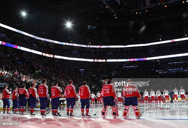 Eastern and Western Conference AllStars stand on the ice during introductions to the 2009 NHL AllStar game at the Bell Centre on January 25 2009 in...