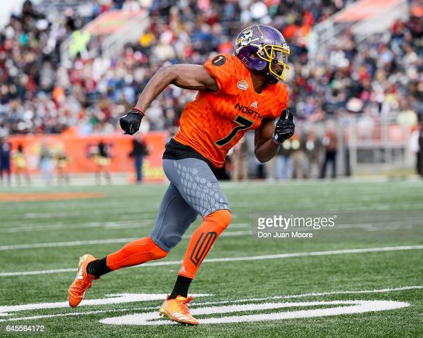 Eastern Carolina Wide Receiver Zay Jones of the North Team during the 2017 Resse's Senior Bowl at LaddPeebles Stadium on January 28 2017 in Mobile...