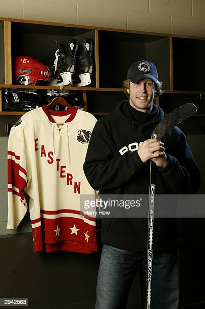 Eastern Conference All Star Joe Thornton of the Boston Bruins poses during the NHL AllStar portrait session on February 7 2004 at the Xcel Energy...