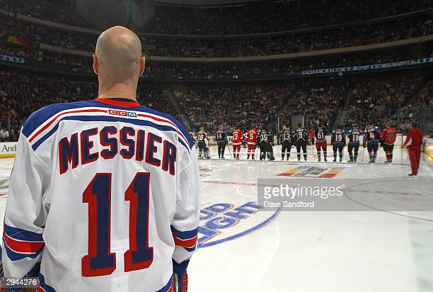 Eastern Conference All Star Mark Messier of the New York Rangers looks on during the introductions at the NHL AllStar Super Skills Competition on...
