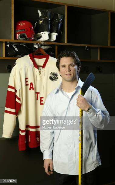 Eastern Conference All Star Martin St Louis of the Tampa Bay Lightning poses during the NHL AllStar portrait session on February 7 2004 at the Xcel...