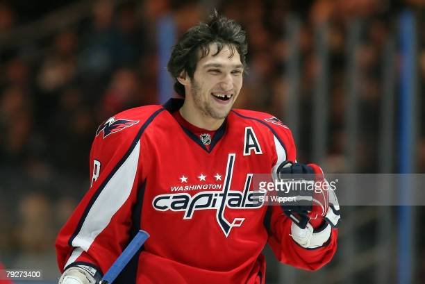 Eastern Conference AllStar Alex Ovechkin of the Washington Capitals smiles during the Dodge/NHL SuperSkills competition as part of the 2008 NHL...