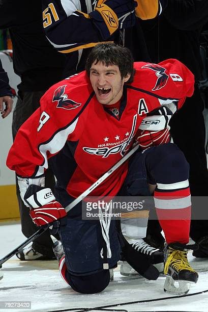Eastern Conference AllStar Alex Ovechkin of the Washington Capitals laughs during the Dodge/NHL SuperSkills competition as part of the 2008 NHL...